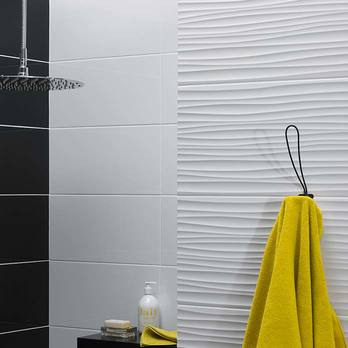 Function and Form Wave White Gloss Wall Tiles