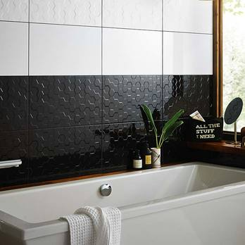 Function and Form Hex Black Polished Wall Tiles