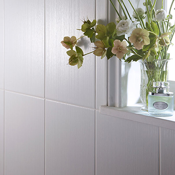 Laura Ashley Cottonwood Linear Satin White Wall Tiles